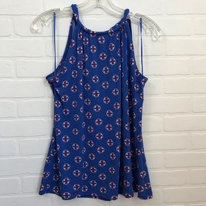 Cynthia Rowely Nautical Graphic Print Halter Sz S